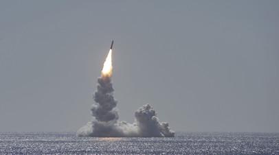 Запуск баллистической ракеты Trident II с подводной лодки Maine