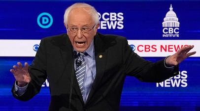 Сенатор Берни Сандерс участвует в десятых демократических дебатах