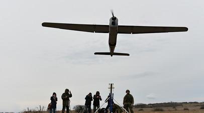 Запуск российского БПЛА «Орлан-10» во время тренировочных полётов