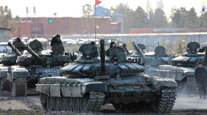 Российские танки на учениях