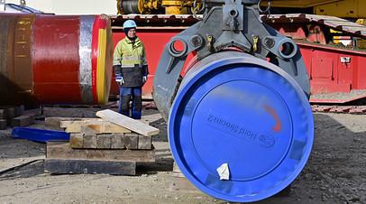 Рабочий на участке строительства газопровода «Северный поток — 2», Германия
