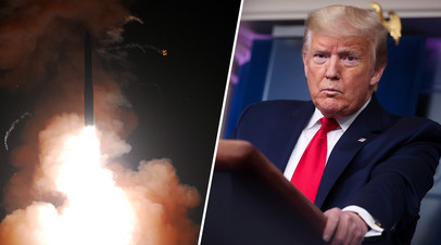 Запуск баллистической межконтинентальной ракеты / президент США Дональд Трамп