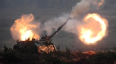 Самоходная артиллерийская установка «Мста» на полигоне