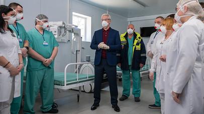 Сергей Собянин во временном госпитале на территории НИИ скорой помощи имени Н.В. Склифосовского
