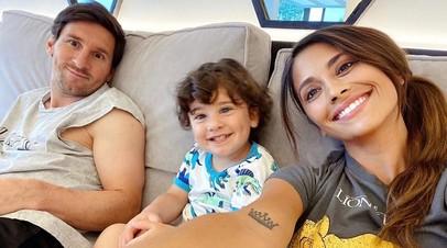 Лионель Месси и Антонелла Роккуццо с сыном