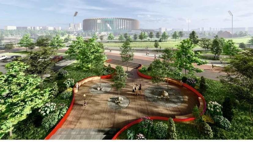 Более 5 тысяч деревьев и кустарников высадят у нового дворца спорта в Петербурге