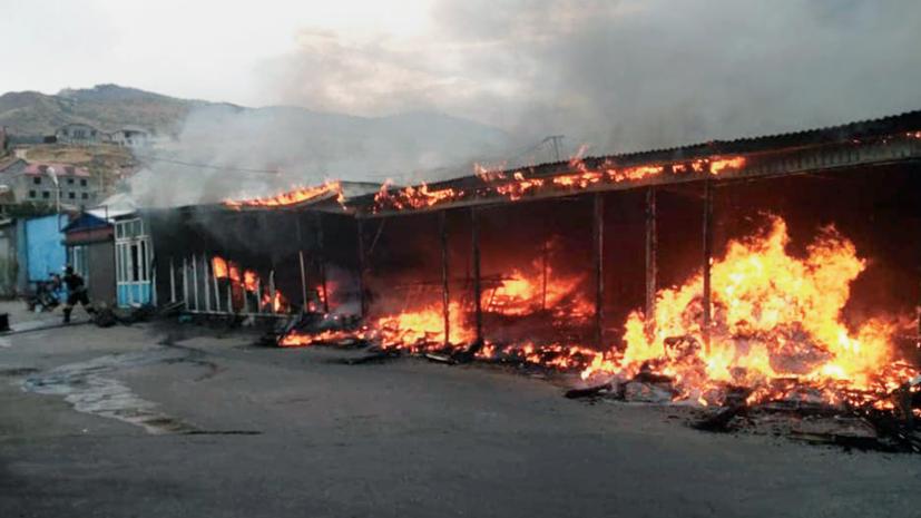 Открытое горение на рынке в Махачкале ликвидировано