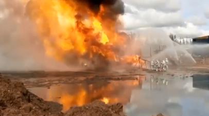 Пожар на нефтяной скважине в Иркутской области — видео