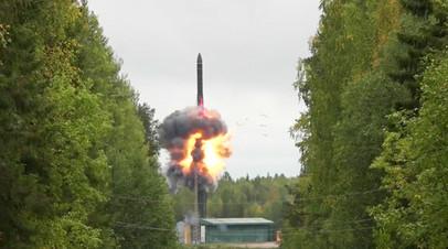 Пуск межконтинентальной баллистической ракеты «Ярс»