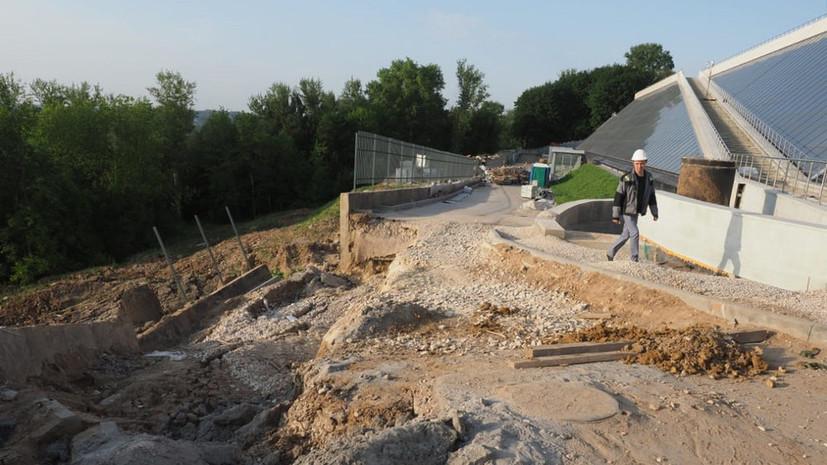 В Калуге обрушилась часть подпорной стены строящегося Музея космонавтики