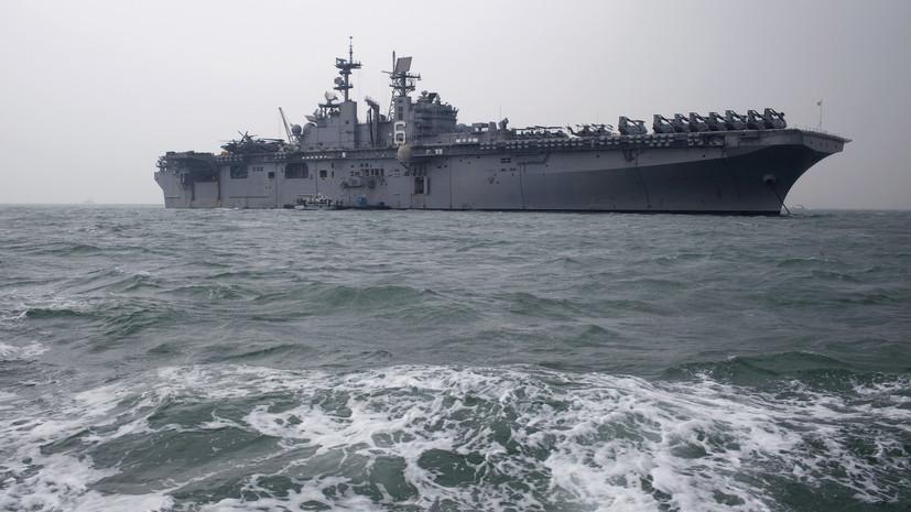 В США на военной базе загорелся десантный корабль