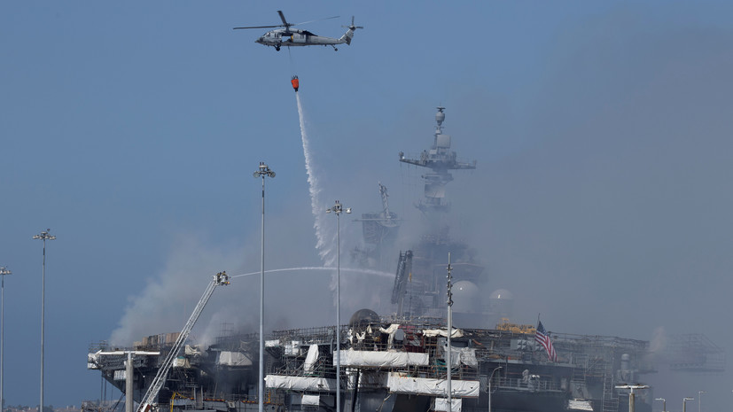 Число пострадавших при пожаре на военном корабле США возросло до 59