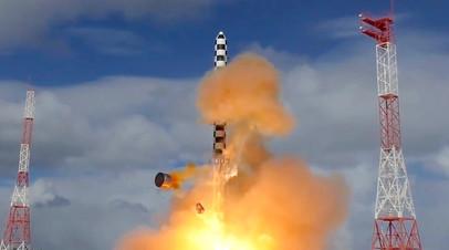 Запуск тяжёлой межконтинентальной баллистической ракеты «Ярс» с космодрома Плесецк