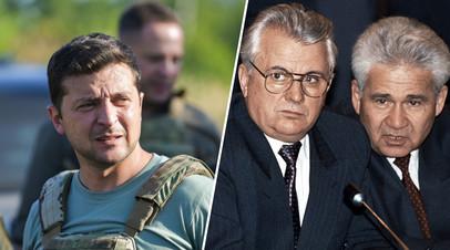 Владимир Зеленский (слева) и Леонид Кравчук вместе с Витольдом Фокиным (справа)