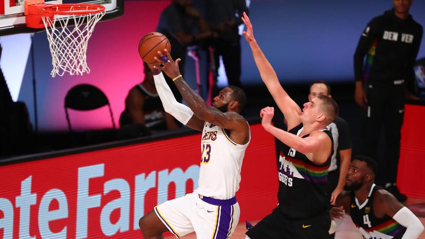 Трипл-дабл Джеймса не спас «Лейкерс» от проигрыша «Денверу» в матче плей-офф НБА