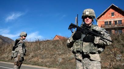 Солдаты KFOR на границе Сербии и частично признанного Косова