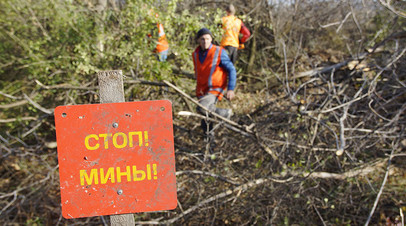 Представители Луганской народной республики проводят разминирование территории Золотого-4