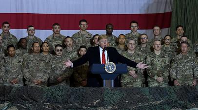 Президент США Дональд Трамп на фоне американских военных, Афганистан, 28 ноября 2019