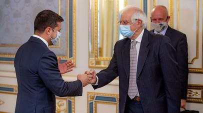 Президент Украины Владимир Зеленский во время встречи с представителем ЕС по иностранным делам и политике безопасности Жозепом Боррелем
