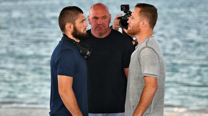 Бойцы UFC Хабиб Нурмагомедов и Джастин Гэтжи, президент UFC Дана Уайт