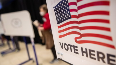 Избирательный участок в Нью-Йорке