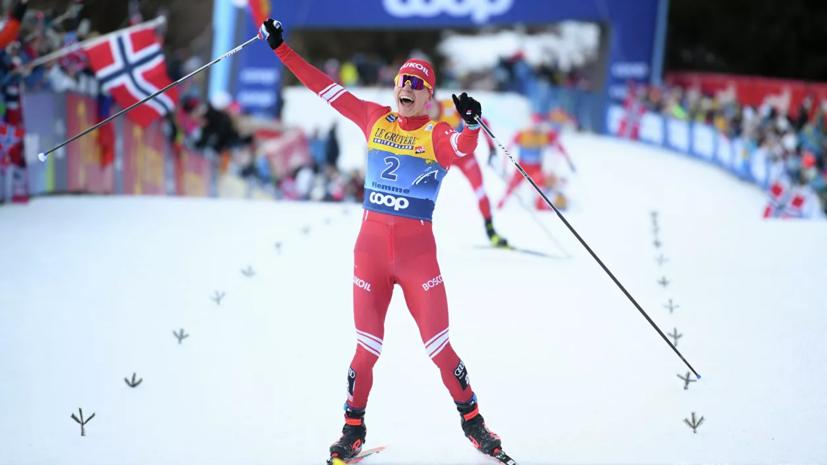 Большунов выиграл серебро в гонке преследования на этапе КМ по лыжным гонкам