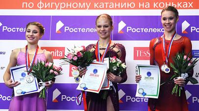 Призёры в произвольной программе в женском одиночном катании на IV этапе Кубка России — Ростелеком, 2020—2021 годы