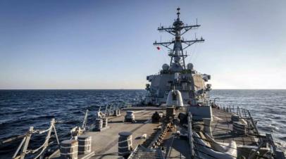 Опубликовано видео сближения корабля «Адмирал Виноградов» и эсминца США