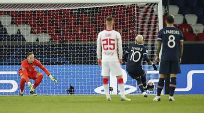 Гол Неймара с пенальти принёс ПСЖ победу над «Лейпцигом» в ЛЧ
