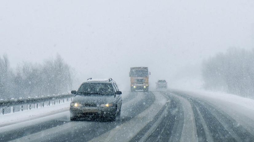 На двух трассах в Башкирии ограничено движение из-за снегопада