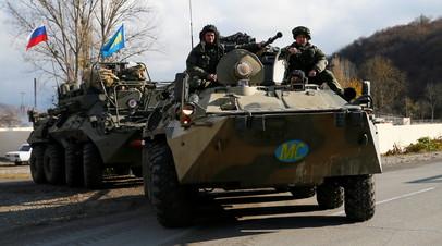 Russian peacekeepers drive near Arutyunagomer, in the region of Nagorno-Karabakh