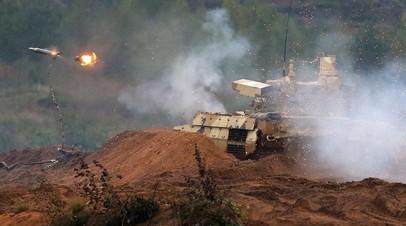 Пуск противотанковой ракеты из БМПТ «Терминатор»