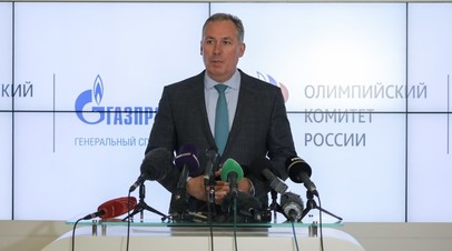 Пресс-конференция президента Олимпийского комитета России Станислава Позднякова