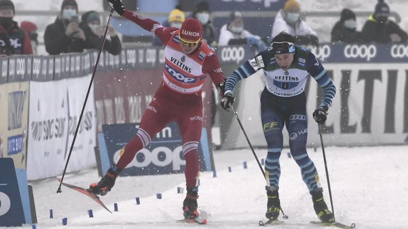 Дисквалификация лидера Кубка мира: как финский лыжник спровоцировал Большунова на финише эстафеты в Лахти