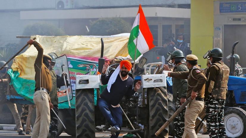 NDTV: более 80 полицейских пострадали в Индии в ходе протестов фермеров
