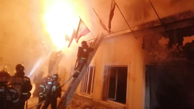 В центре Москвы обрушилась крыша горящего здания
