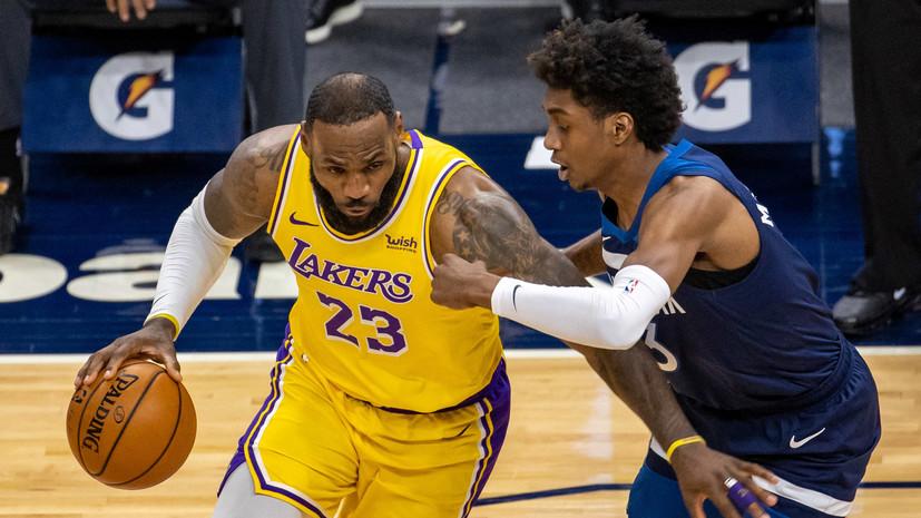 Дабл-дабл Джеймса помог «Лейкерс» победить «Миннесоту» в НБА