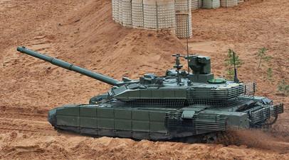 Танк Т-90М во время совместных стратегических учений (ССУ) Вооружённых сил России и Белоруссии на Лужском полигоне в Ленинградской области