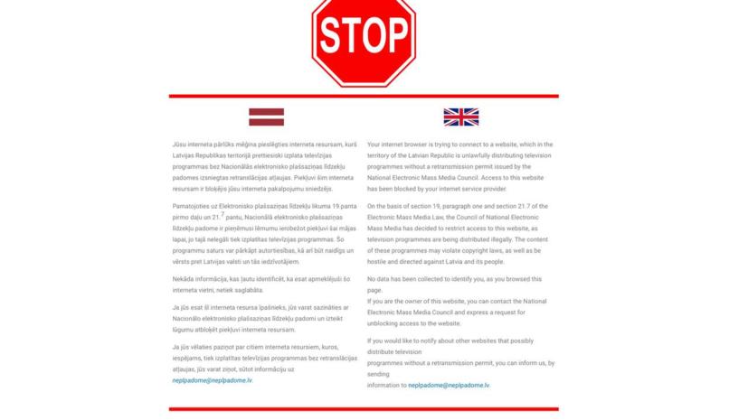 В Латвии начали блокировать доступ к сайтуRT на русском