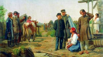 А.И. Корзухин. «Сбор недоимок» (Уводят последнюю корову). Картина 1868 г.