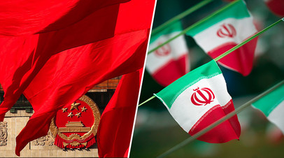 Флаги КНР и Ирана