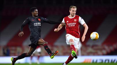 Арсенал в компенсированное время упустил победу над Славией в первом матче 1/4 финала ЛЕ