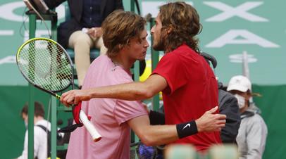 Los tenistas Andrei Rublev y Stefanos Tsitsipas en la final del torneo de Montecarlo