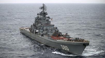 Тяжёлый атомный ракетный крейсер «Адмирал Нахимов» Северного флота ВМФ РФ в Баренцевом море