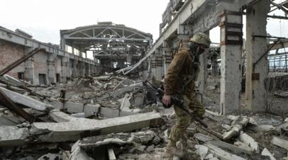 Украинский военнослужащий на линии разделения близ Донецка