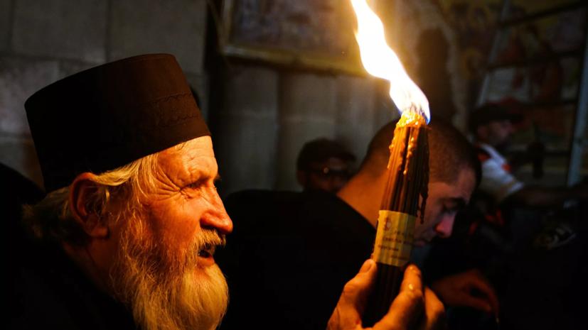 Благодатный огонь сошёл в храме Гроба Господня в Иерусалиме