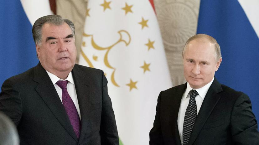 В Кремле рассказали о темах переговоров Путина и Рахмона 8 мая
