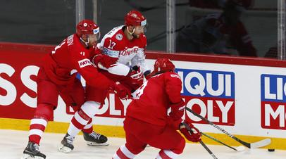 Сборные России и Дании завершили вничью первый период матча ЧМ по хоккею