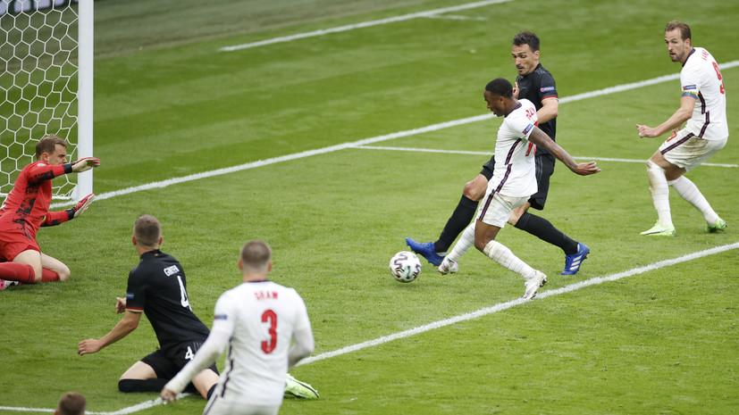 Стерлинг — второй игрок в истории сборной Англии, забивший три первых мяча команды на Евро и ЧМ