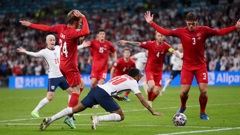 Спорный пенальти, два мяча на поле и лазерная указка: почему матч Англия — Дания на Евро-2020 завершился скандалом